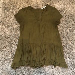 RO & DE ARMY GREEN V-NECK BABY DOLL SHIRT
